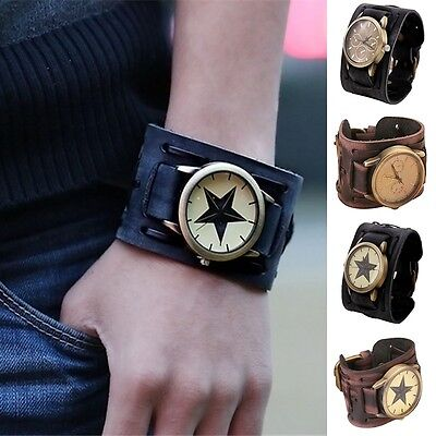 New Retro Mens Womens Cool Punk Wrist Watch Big Wide Leather Band Bracelet Cuff