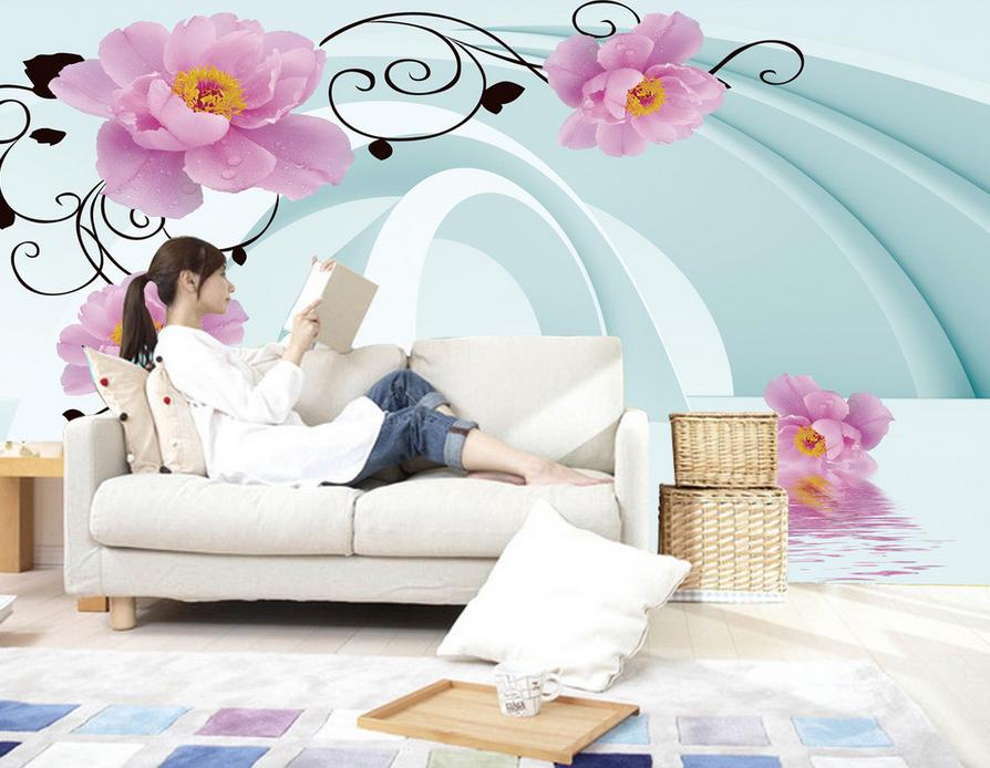 3D Blaumenmuster Design 743 Tapete Wandgemälde Tapete Tapeten Bild Familie DE   Professionelles Design    ein guter Ruf in der Welt    Bestellung willkommen