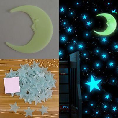 DIY 1Moon & 100pcs 3D Glow In The Dark Light Facny Blue Stars Wall Stickers PVC