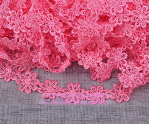 Lot Yards Vintage Flower Lace Edge Trim Embroidered Fabric Sewing Applique Trim
