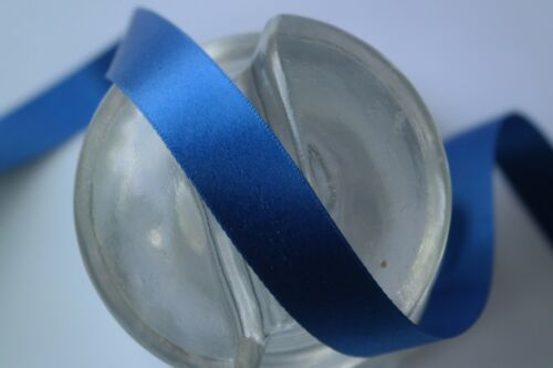 """1 yard 5//8/"""" wide blue vintage double faced satin rayon ribbon dress"""