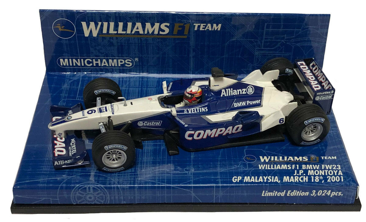 Minichamps Williams FW23 Malyasian GP 2001 - Juan Pablo Montoya 1 43 Scale