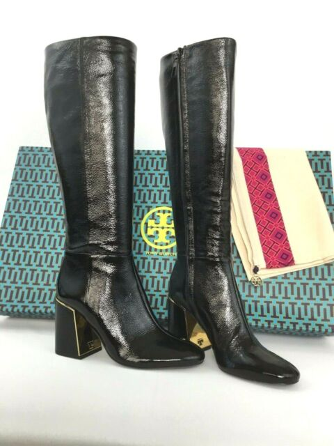 Black Leather Womens Knee High BOOTS