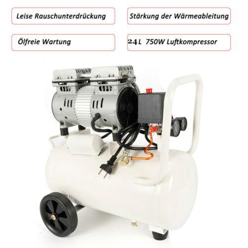 Car Decoration 24L Silent Quiet Oil Free Air Compressor 750W Dental Medical