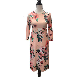 Girls Pink Floral Empire Waist Long Sleeve Maxi Dress w/ Pockets Size Large 8-9Y