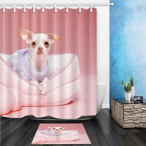 Image Is Loading Chihuahua Dog Sitting On Sofa Bathroom Fabric Shower