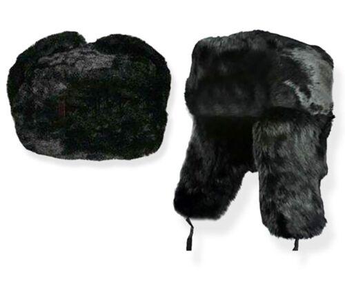 XL Black Unisex Russian Faux Fur Ushanka Hat Size 60