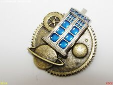 Steampunk badge brooch tardis planets Dr Who police box scifi timelord geek nerd