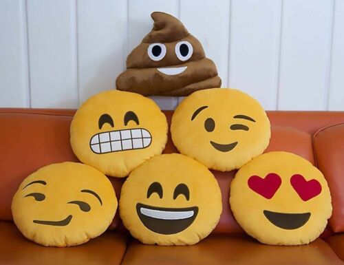"""POOP LOT OF 20 EMOJI PILLOWS 14/"""" ASSORTED STYLES EMOTICON PLUSH SMILEY FACE"""