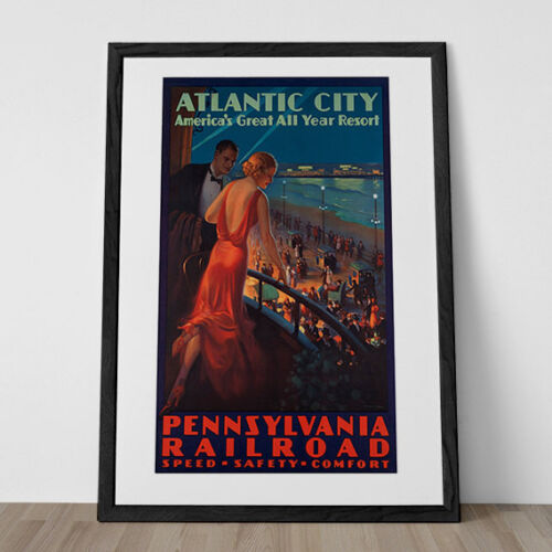 ATLANTIC CITY Travel Poster Art Deco Travel Poster 1930/'s Travel Poster Train Tr