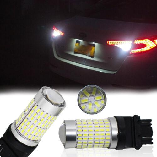2X White 3157 3156 144 SMD 3000 Lumens High Power LED Backup Reverse Light Bulbs