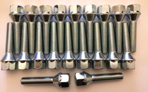 20 x M12X1.5 70mm di lunghezza 45mm filettatura 60 gradi bulloni cerchi in lega Si Adatta Audi 57.1
