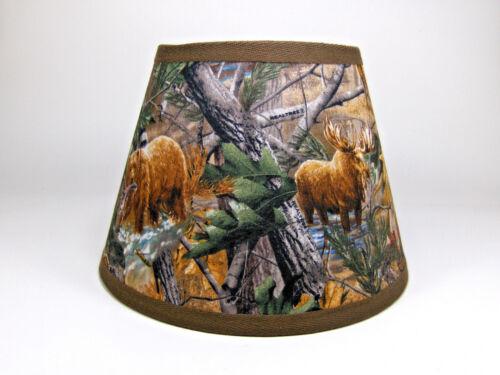 Primitive Deer Moose Bear Turkey Tree Camo Fabric Lampshade Lamp Shade