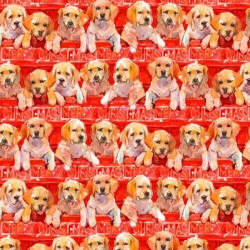 Quilter/'s Palette Santa/'s Helper Digital 15123 Red Puppies  Cotton