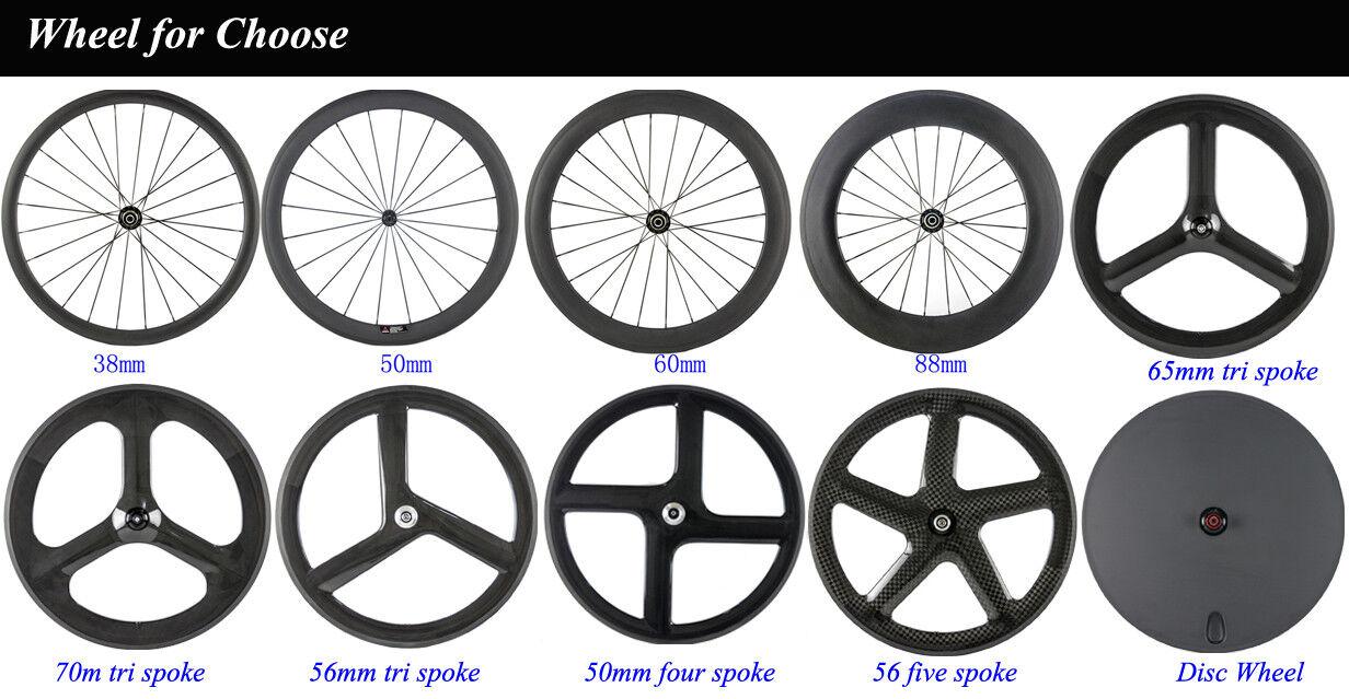 Superteam Ruedas de Carbono 50 mm de Superficie de de de freno de Aluminio Carbono Bicicleta ruedas de carretera ea6387