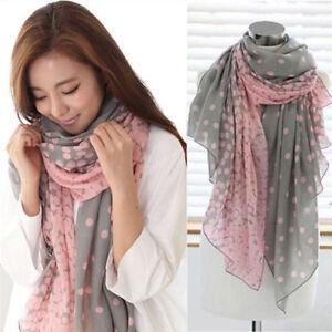 Damen-Lange-Punkt-gedruckt-Schal-Verpackungs-Schal-Stola-Rosa-Grau-Geschenk-NEU