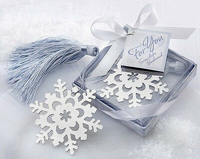 Lovely Cute Snowflake Creative Exquisite Alloy Bookmark With Ribbon Box Gift XIC