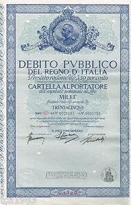 Debito-Pubblico-Del-Regno-D-039-ITALIA-ITALY-Certificate-Bond-L1000-1-000-Lira