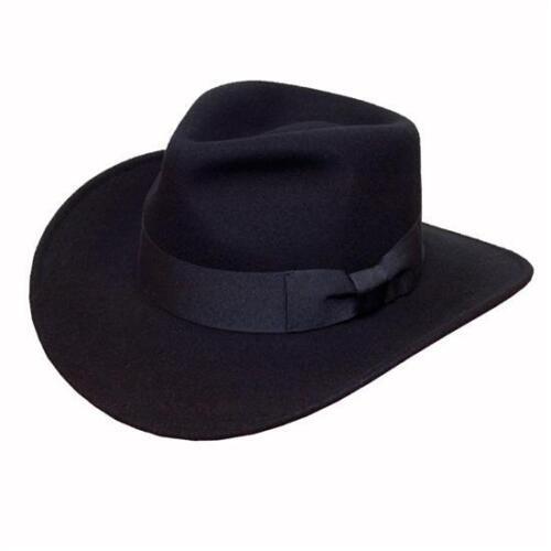 4 tailles gratuit fast post 1st classe Laine noire chapeau de cow-boy avec ruban bande