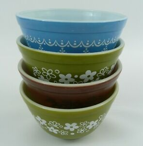 Pyrex #401 Small Mixing Bowls Set of 4 Snowflake Blue-Old Orchard-Spring Blossom