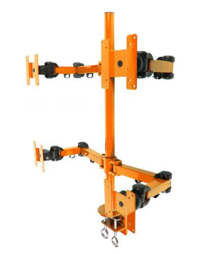 MonMount Heavy Duty Deluxe Orange Quad LCD Desk Mount Stand Clamp 4 Monitors