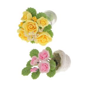 2pcs-Rose-Flower-Plant-in-Pot-Doll-House-Miniature-My-Fairy-Garden-Decor
