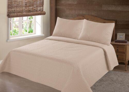 Nena 3 Piece Bed Bedspread Soft QUEEN Quilt Coverlet Solid Stippling Stitch Set