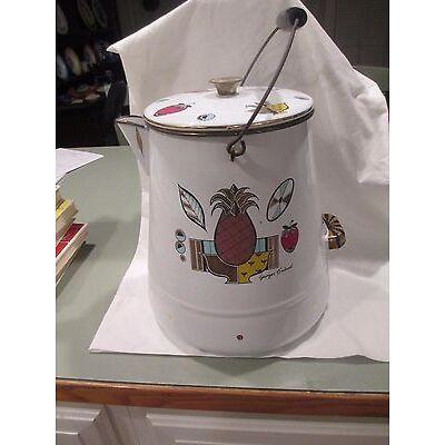 "Georges Briand Mid Century Enamel Large Coffee Pot 12"" & 12 corn mugs eames era"