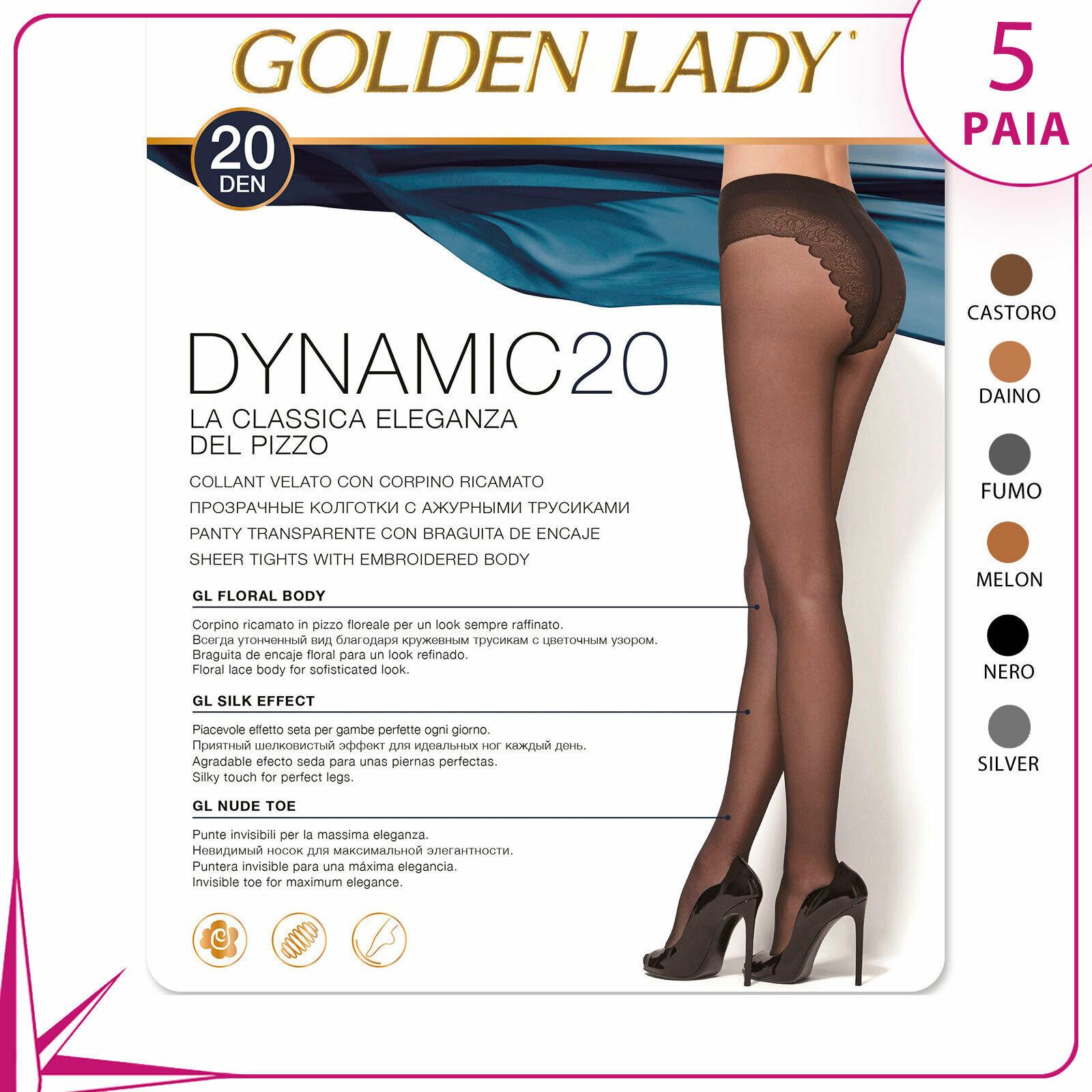 5 Paare Strumpfhose Frau Golden lady Dynamic 20 Höhle Höschen Spitze