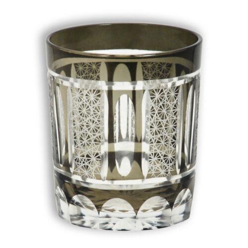 Black Shimmering Glass Tea Sake Cup Cut Glass Japanese Collectible Edo-Kiriko