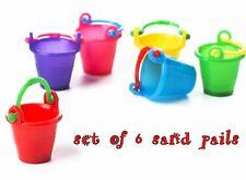 6 piece MINIATURE SAND PAIL Pails BUCKET 4 DOLLHOUSE or FAIRY GARDEN in PLASTIC
