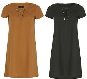 Women-039-s-Shift-Dress-Eyelet-Lace-Up-Short-Sleeve-Relaxed-Fit-Casual-Thigh-Length