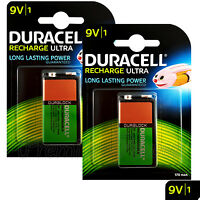 2 x Duracell Rechargeable 9V batteries 170 mAh Block Transistor 6HR61 DC1604 PP3