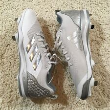 e423996e884b Adidas Power Alley 5 Men's White Gray Metal Baseball Cleats Size 12.5