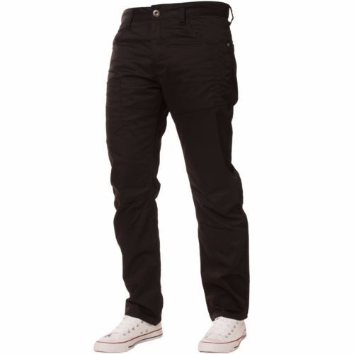 Enzo New Men/'s Designer Black Tapered Fit Chino Twill Jeans Pocket Detail