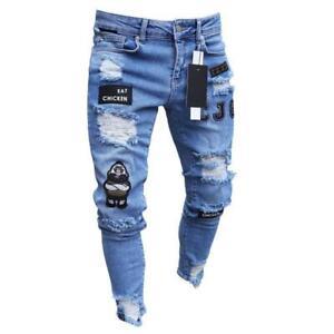 Pantalones Vaqueros Para Hombres Moda Flaco Elastico De Agujero Estampado Casual Ebay
