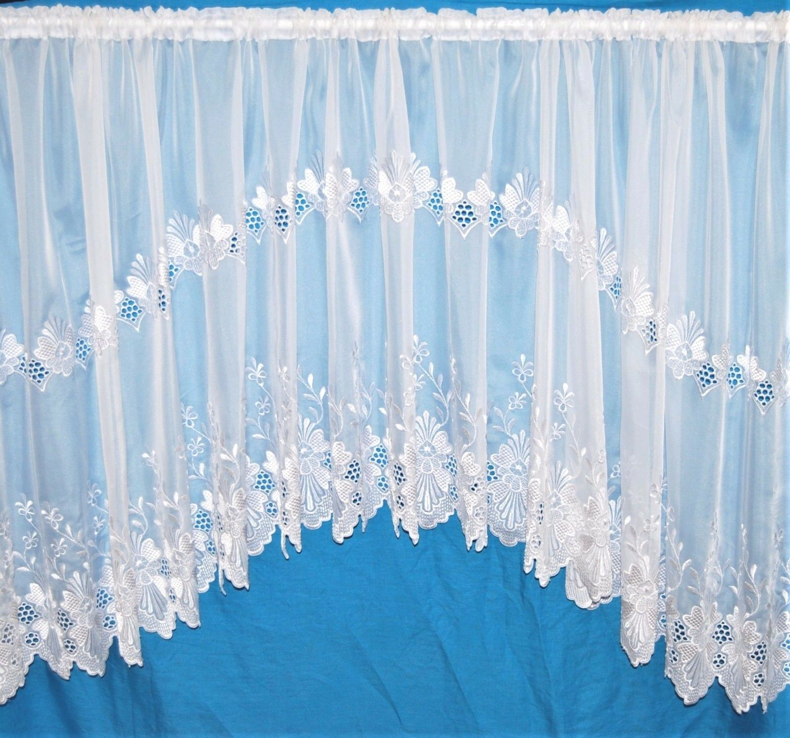 KIRSTY VOILE JARDINIERE JARDINIERE JARDINIERE PLAIN WITH EMBROIDErot BASE DESIGN  Weiß NET CURTAIN c14a25