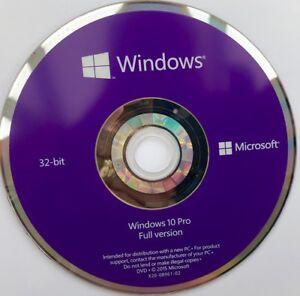 Microsoft Windows 10 Pro Professional 32Bit DVD - Official Installation DVD Disc
