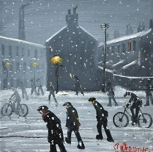 Marvellous-James-Downie-Original-Oil-Painting-Off-To-Work-In-The-Snow