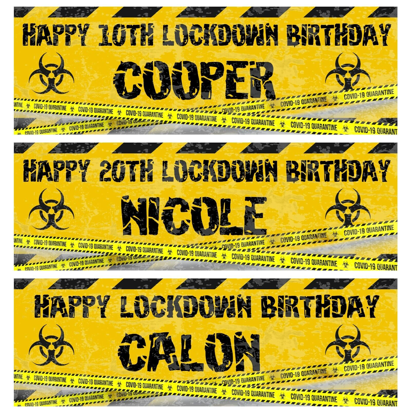 2 personalised birthday banner Lockdown 2021 fun party poster From £3.99 @ eBay