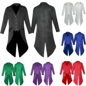 Men-039-s-Steampunk-Tailcoat-Jacket-Long-Gothic-Victorian-Frock-Retro-Coat-Uniforms