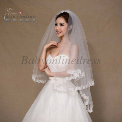 New 2 Tier White/Ivory Elbow Lace Edge Bridal Veil With Comb Wedding Accessories