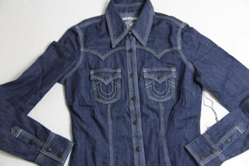 True Religion Women Denim Shirt XS XSmall Slim Fit for sale online ... 6e3f35225