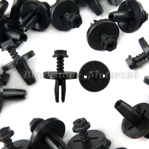 20 Pcs Under Hood Retainer Black Nylon Clip Push Type A13469 For Ford N802737-S