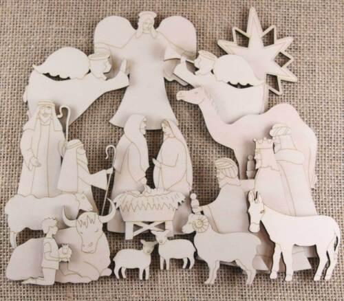 In legno Natale Natività Craft Forma SET 20 ELEMENTI Mangiatoia Kings Pastori Angeli
