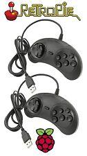 2 x Sega Mega Drive/Genesis Style USB 2.0 Game Pad Controllers For Raspberry Pi