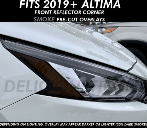 Fits 2019 ALTIMA SMOKE Head Light Amber Corner Front Overlays PreCut Vinyl Tint