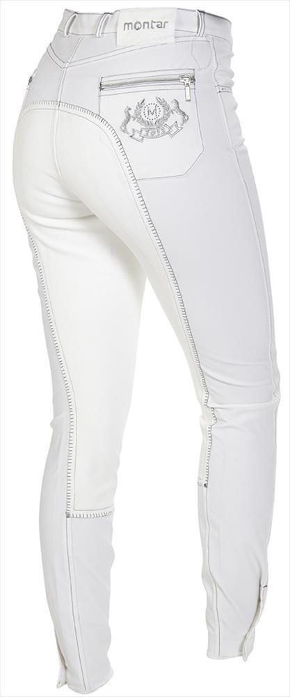 Montar Pantaloni Equitazione per Donna Bambù Bianco, con Swarovski Eleuominii