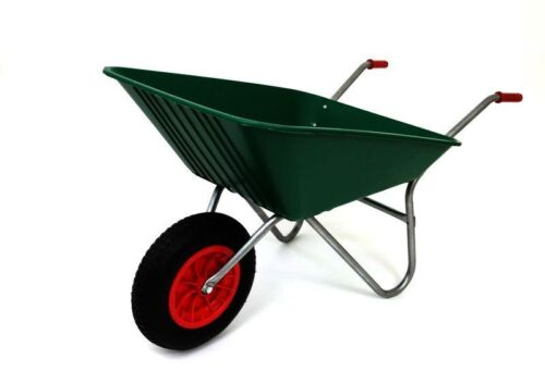 85L GREEN PLASTIC WHEELBARROW WITH RED PNEUMATIC WHEEL EXCELLENT QUALITY