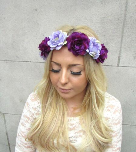 Lilas Violet Rose Fleur Guirlande Bandeau Cheveux Couronne Festival Bandeau 2388